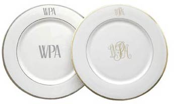 Monogrammed Chargers  sc 1 st  Pickard Monogrammed and Custom Pickard China and Fine Dinnerware ... : monogrammed dinner plates - pezcame.com