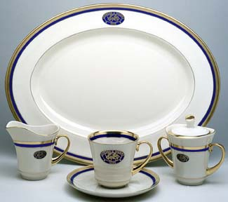 Blue and gold custom dinnerware