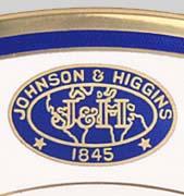 Blue and gold custom dinnerware logo detail