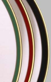 Green, burgundy & black color bands detail
