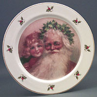Santa with Little Girl Plate